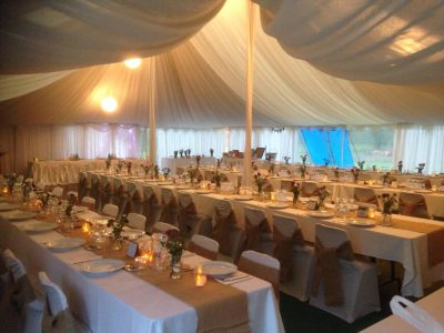 10.8m x 14.4m Peg & Pole Marquee with Silk Chandeliers