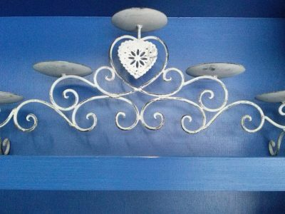 Michelle - 5 Candles on Stand With Heart- Wrought Iron