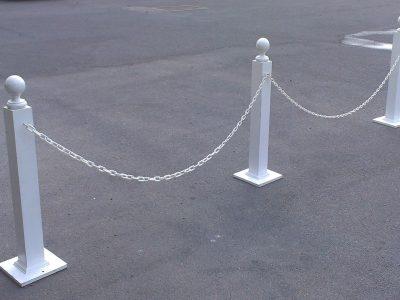 White Bollards & Chain