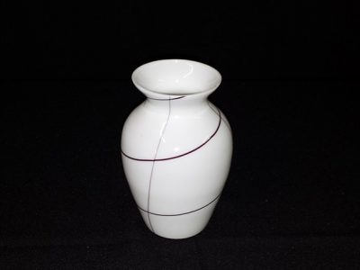 Willow - Vase White with Brown Strips